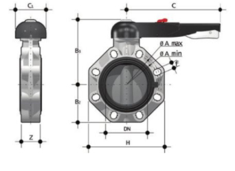 DP PVCc FK butterfly valve lever operated diagram