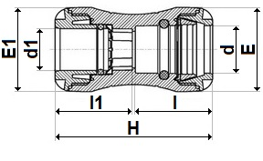 MDPE pushfit MDPE to copper coupling diagram